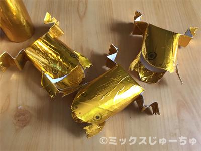トイレットペーパーの芯の金のカエルの作り方