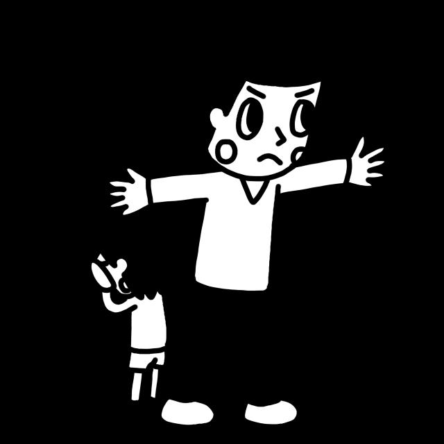 子どもを守る大人のイラストモノクロ